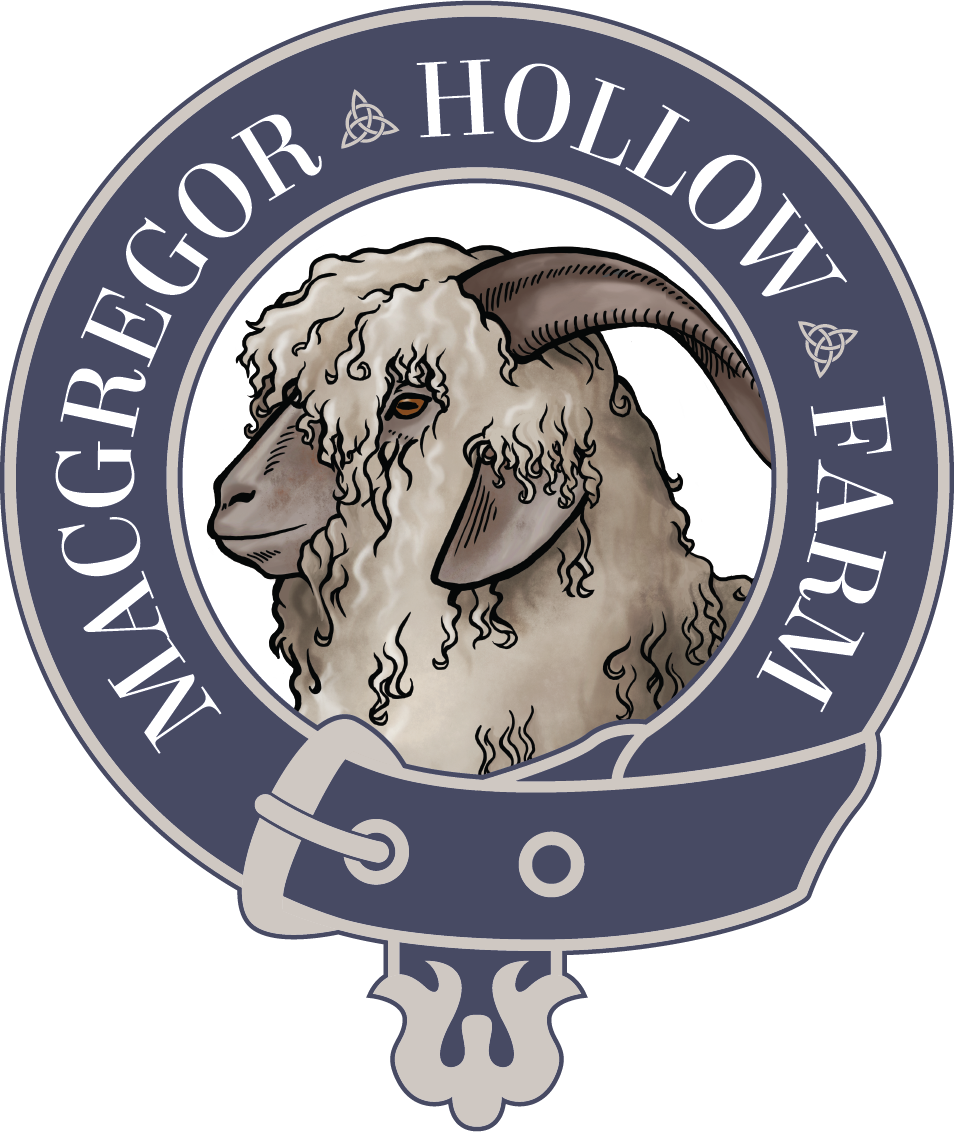 MacGregor Hollow Farm and Fiber Arts Logo with Angora Goat